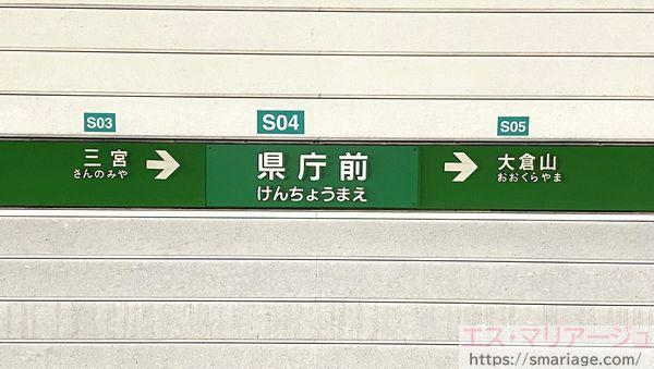 県庁前駅・駅名標